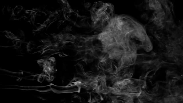 Five lines white smoke on a black background. Beautifully the smoke line video