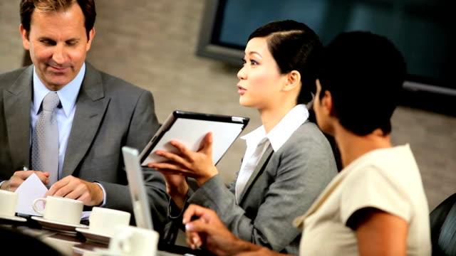 Five Multi Ethnic Business People in Team Meeting video