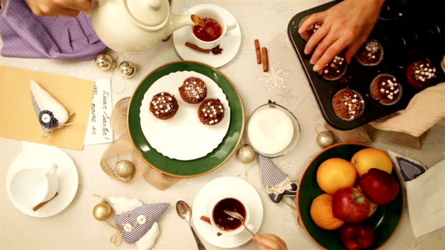Five o'clock tea with homemade muffins and fruit video