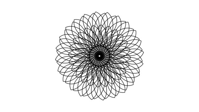 Five Rosette Designs Being Drawn (HD, NTSC, PAL) Five separate animations of geometric rosette shapes being drawn. floral pattern stock videos & royalty-free footage
