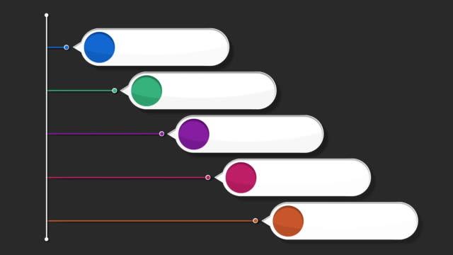 fünf runden square intro title box chart, powerpoint-präsentation der vorlage. - flussdiagramm stock-videos und b-roll-filmmaterial