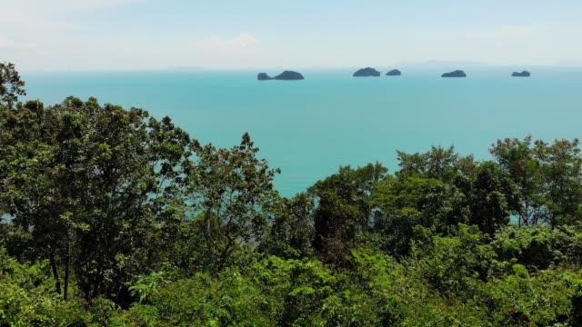 穏やかな水面の5つのシスターズ諸島。魅惑的な風景、緑と深い穏やかな水、サムイタイ。旅行休暇の休暇リゾートの概念をリラックス。鳥の目のパノラマ空中ドローントップビュー - サムイ島点の映像素材/bロール