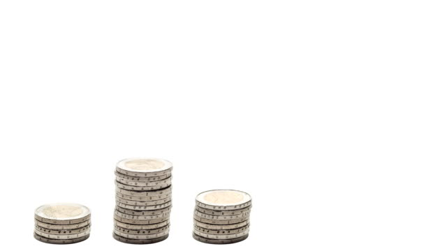 Five stacks of coins increasing - Stop Motion. Five stacks of coins increasing - Stop Motion. Concept of growth, wealth, success. architectural column stock videos & royalty-free footage