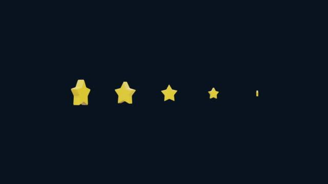 vídeos de stock, filmes e b-roll de cinco estrelas avaliação animation cartoon. gráficos 3d simples de baixa poli. estrelas caindo de cima com partículas brilhantes. gráficos 3d simples de baixa poli com canal alfa fosco - costumer