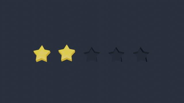 vídeos de stock, filmes e b-roll de cinco estrelas avaliação animation cartoon. gráficos 3d simples de baixa poli. estrelas pulando de um espaço vazioanimation. gráficos 3d simples de baixa poli. estrelas que saltam de um espaço vazio - costumer