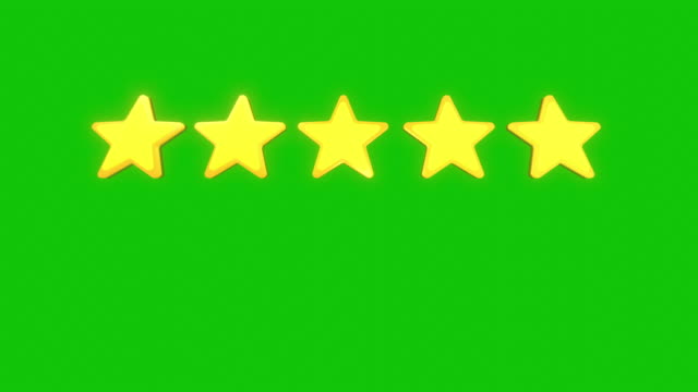 five stars rating isolated on green screen and alpha matte background - cinque oggetti video stock e b–roll