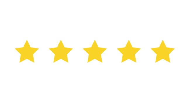 five stars shining yellow - evaluation filmów i materiałów b-roll