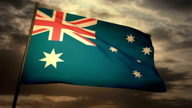 vídeos de stock, filmes e b-roll de bandeira austrália - país área geográfica