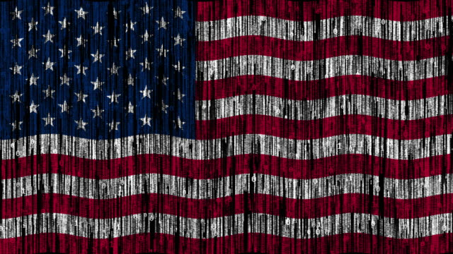 USA flag digitally generated animation with ones and zeros binary computer code