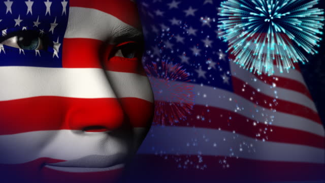 USA flag face painted celebration Fireworks video