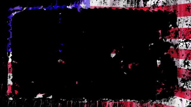US flag grunge frame video
