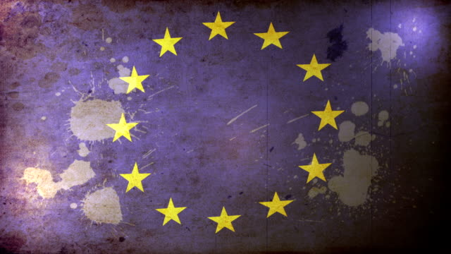 EU Flag - Grunge. HD video