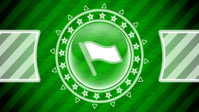 Flag icon in circle shape and green striped background. Illustration. Looping footage. website design stock videos & royalty-free footage