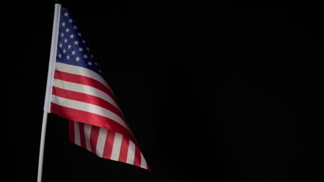 USA Flag in black background - video