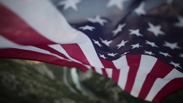 U.S. Flag In Mountains video