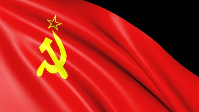 ussr flag isolated. - nazionalità russa video stock e b–roll