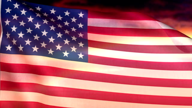 USA flag. Loopable. Sunset or sunrise background. Fourth of July video