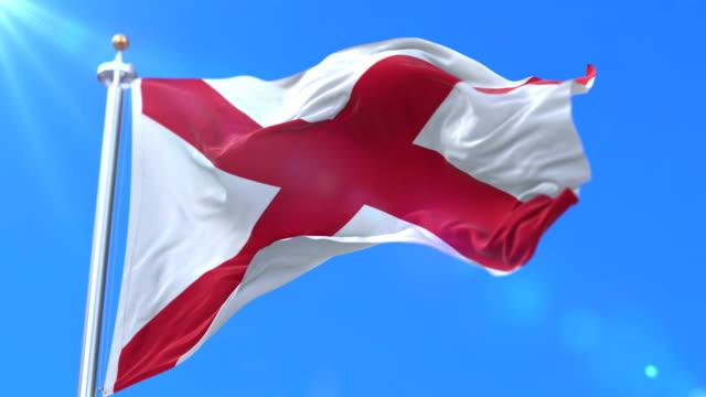 alabama eyalet, amerika birleşik devletleri - bölge bayrağı döngü - alabama stok videoları ve detay görüntü çekimi