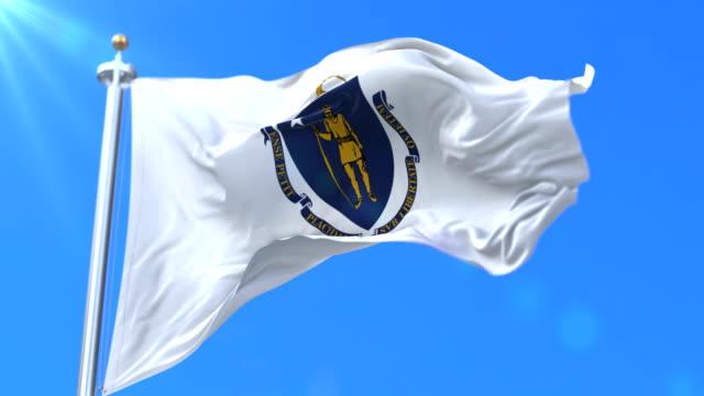 flagga av amerikanska staten massachusetts, region i usa - slinga - massachusetts bildbanksvideor och videomaterial från bakom kulisserna