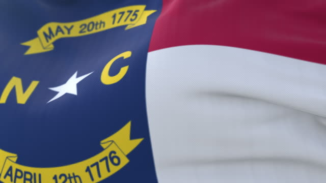 Flag of american state of North Carolina, region of the United States. Loop