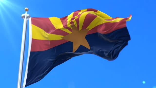 vidéos et rushes de drapeau d'état de l'arizona, région des états-unis d'amérique - boucle - alaska état américain