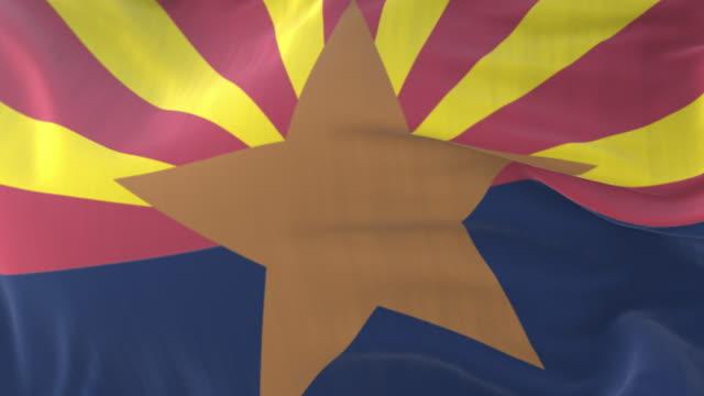 vidéos et rushes de drapeau de l'état de l'arizona, région des états-unis, agitant au vent - boucle - alaska état américain