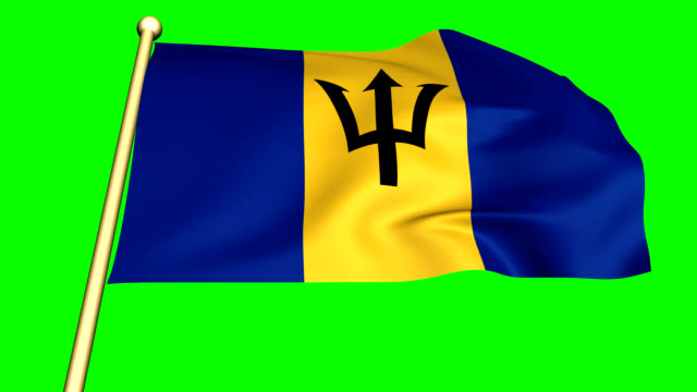 Flag of Barbados  animated with green screen video