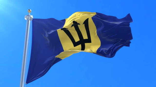 Flag of Barbados waving at wind in blue sky, loop video