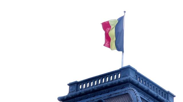bandiera del belgio di nel vento palazzo reale sul tetto. bellissima foto dell'europa, cultura e paesaggi. viaggio turistico attrazioni turistiche, vista del belgio. world travel, west viaggio paesaggio urbano europeo, esterno - belgio video stock e b–roll