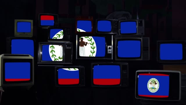Flag of Belize on Retro Televisions. Dark Blue Tone.