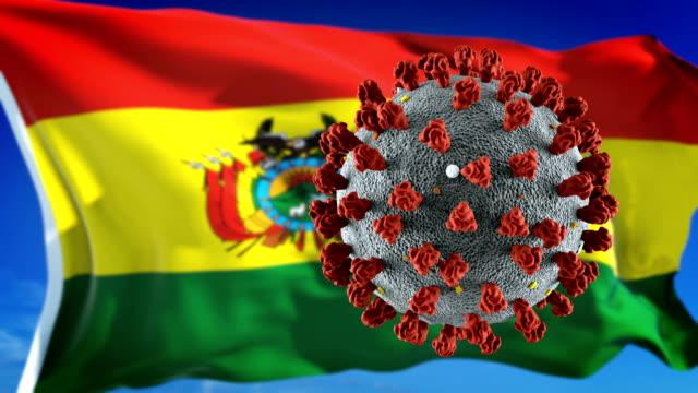 Flagge von Bolivien mit Ausbruch tödlichen Coronavirus covid-19. Loopable – Video