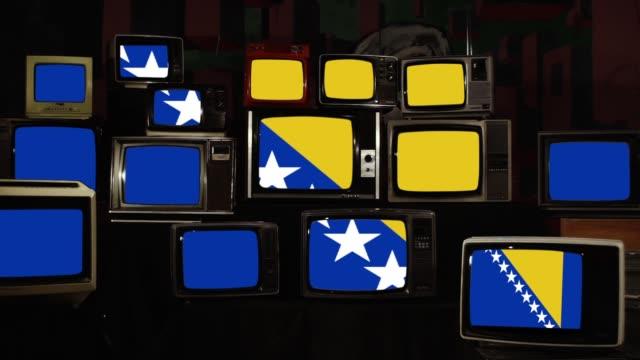 ボスニア・ヘルツェゴビナとレトロなテレビの旗。 - ボスニア・ヘルツェゴビナ点の映像素材/bロール