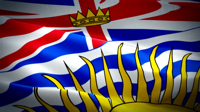 Flag of British Columbia video waving in wind. Realistic Province Flag background. Canadian British Columbia Flag Looping closeup 1080p Full HD 1920X1080 footage. British Columbia Canada Provinces Province flags/ Other HD flags