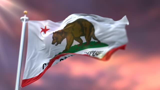 vídeos de stock, filmes e b-roll de bandeira do estado de califórnia, região dos estados unidos, acenando no por do sol-laço - insígnia