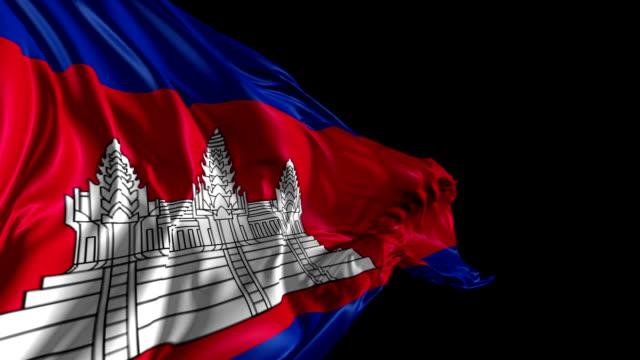 bandiera della cambogia - bandiera nazionale video stock e b–roll