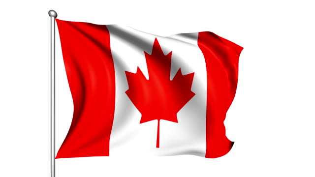 flag of canada (looping, alpha channel) - canada flag stock videos & royalty-free footage