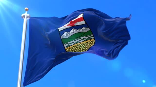 Flag of canadian region of Alberta, province of Canada - loop video