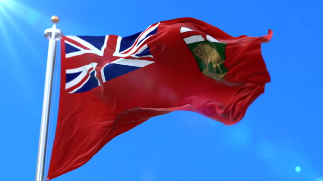Flag of canadian region of Manitoba, province of Canada - loop video