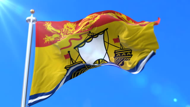 Flag of canadian region of New Brunswick, province of Canada - loop video