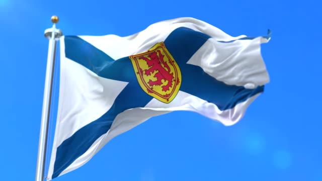 Flag of canadian region of Nova Scotia, province of Canada - loop video