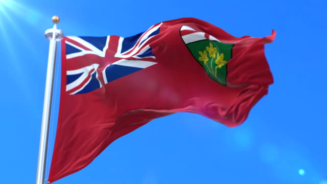Flag of canadian region of Ontario, province of Canada - loop Flag of canadian province of Ontario, region of Canada, waving at wind - loop ontario canada stock videos & royalty-free footage