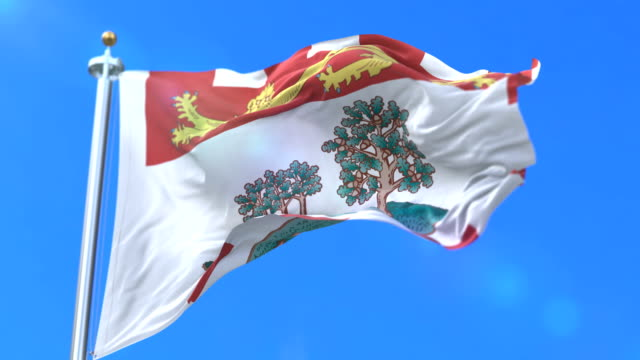 Flag of canadian region of Prince Edward Island, province of Canada - loop video