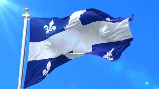 Flag of canadian region of Quebec, province of Canada - loop video