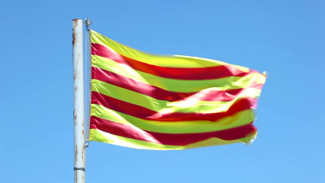 flag of catalonia, spain - lleida стоковые видео и кадры b-roll