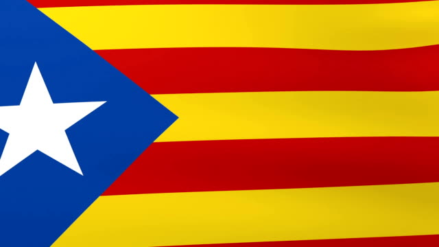 Flag of Catalonia waving on the wind. Abstract background - 3d rendering. video