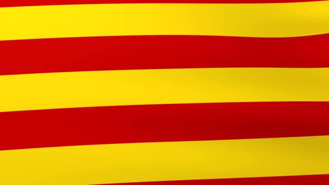 Flag of Catalonia waving on the wind. Abstract background video
