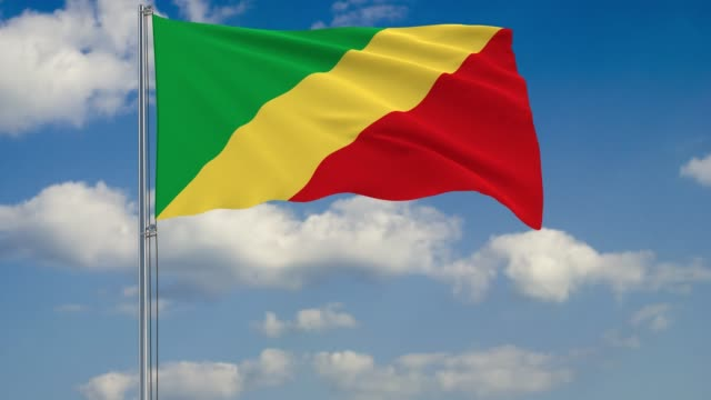 Flag of Congo against background of clouds sky video