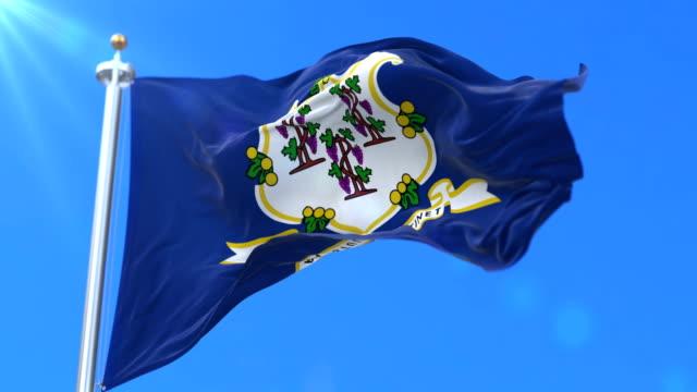 vidéos et rushes de drapeau de l'état du connecticut, région des états-unis d'amérique - boucle - alaska état américain