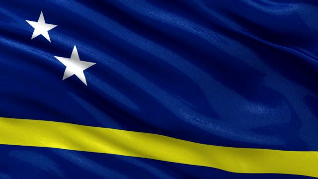 Flag of Curacao seamless loop Flag of Curacao gently waving in the wind. Loop ready file with high quality fabric material. curaçao stock videos & royalty-free footage