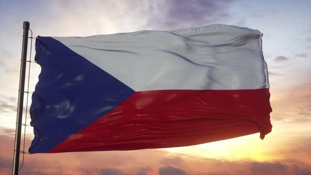 夕暮れ時に深い美しい空に対して風に手を振るチェコ共和国の旗 - チェコ共和国点の映像素材/bロール